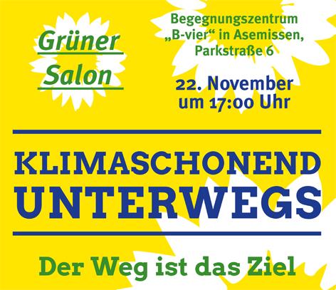 """Grüner Salon """"Der Weg ist das Ziel – klimaschonend unterwegs"""""""