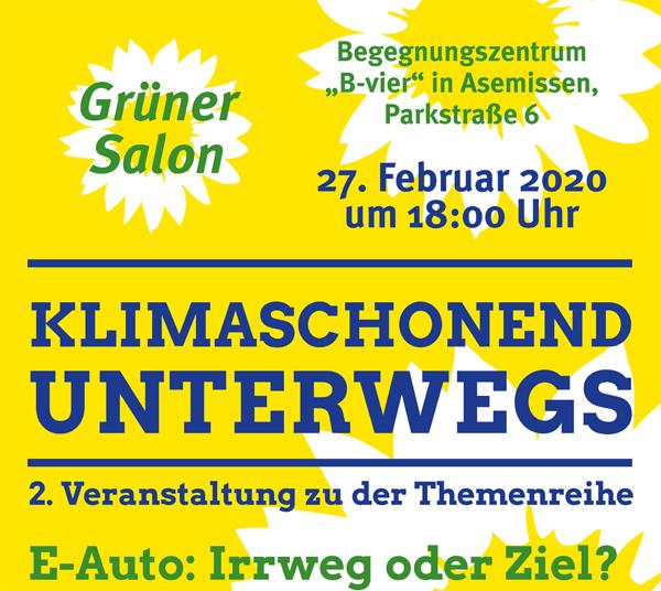 """Grüner Salon """"E-Auto – Irrweg oder Ziel?"""""""